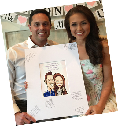 bridal shower susan moreno caricature artist atlanta