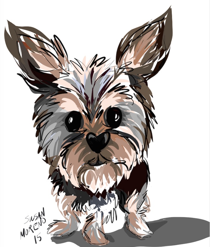 digital caricature by susan moreno doggie